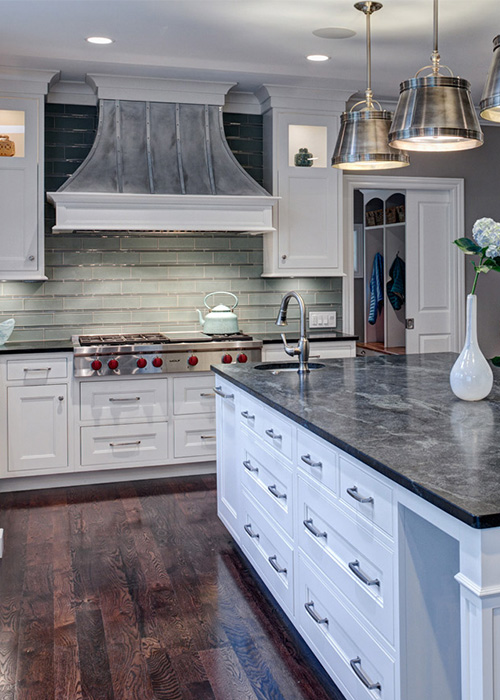 Cottage kitchen style countertops and cabinets