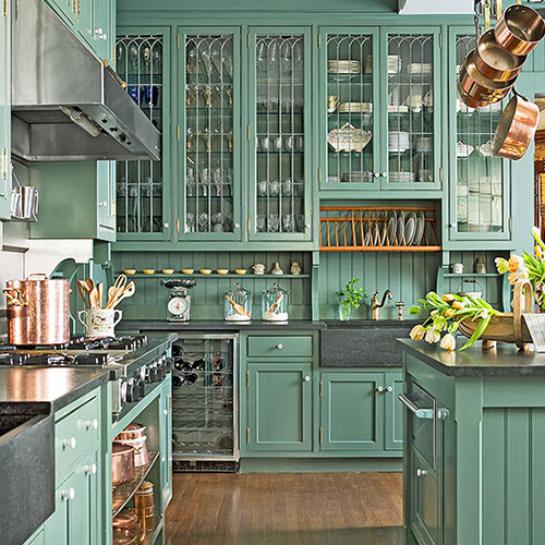 kitchen cabinets mix colors