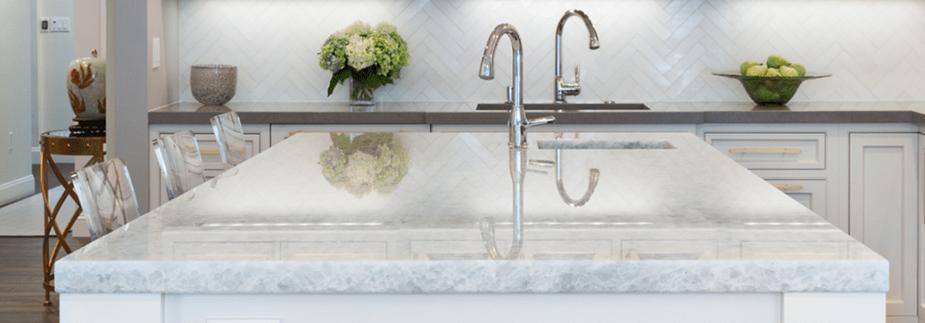 white quartzite kitchen countertops PRO TOPS Charlotte