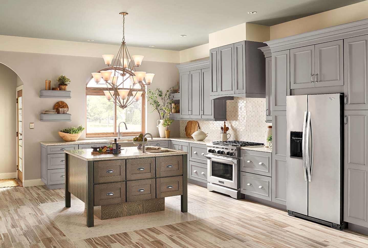 Merrilat Lucca Pebble Grey Mapple and Montresano Baltic Oak kitchen cabinetry